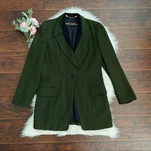 ESCADA Margaret Ley Green Wool Long Blazer